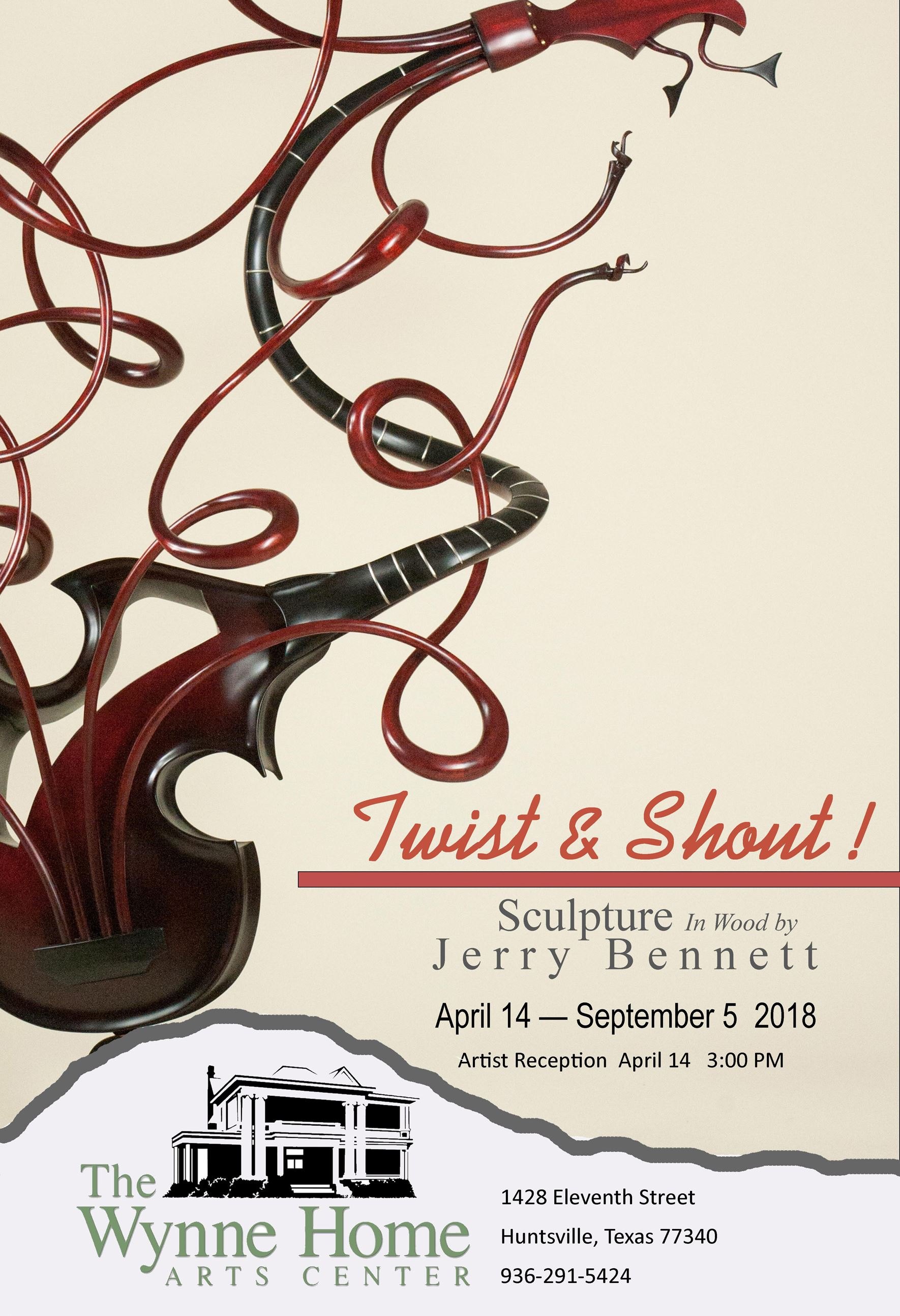 The public to enjoy Twist & Shout: Wood Sculpture by Jerry Bennett at the Wynne Home Arts and Visitors Center, 1428 Eleventh Street, through Sept. 5.