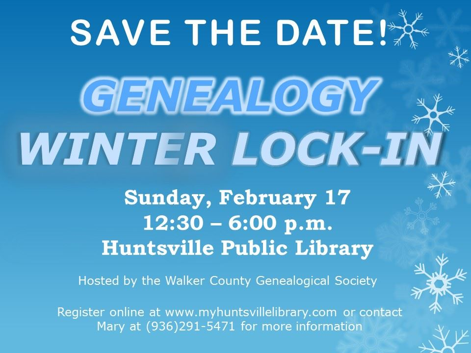 GENEALOGY Winter lock-in