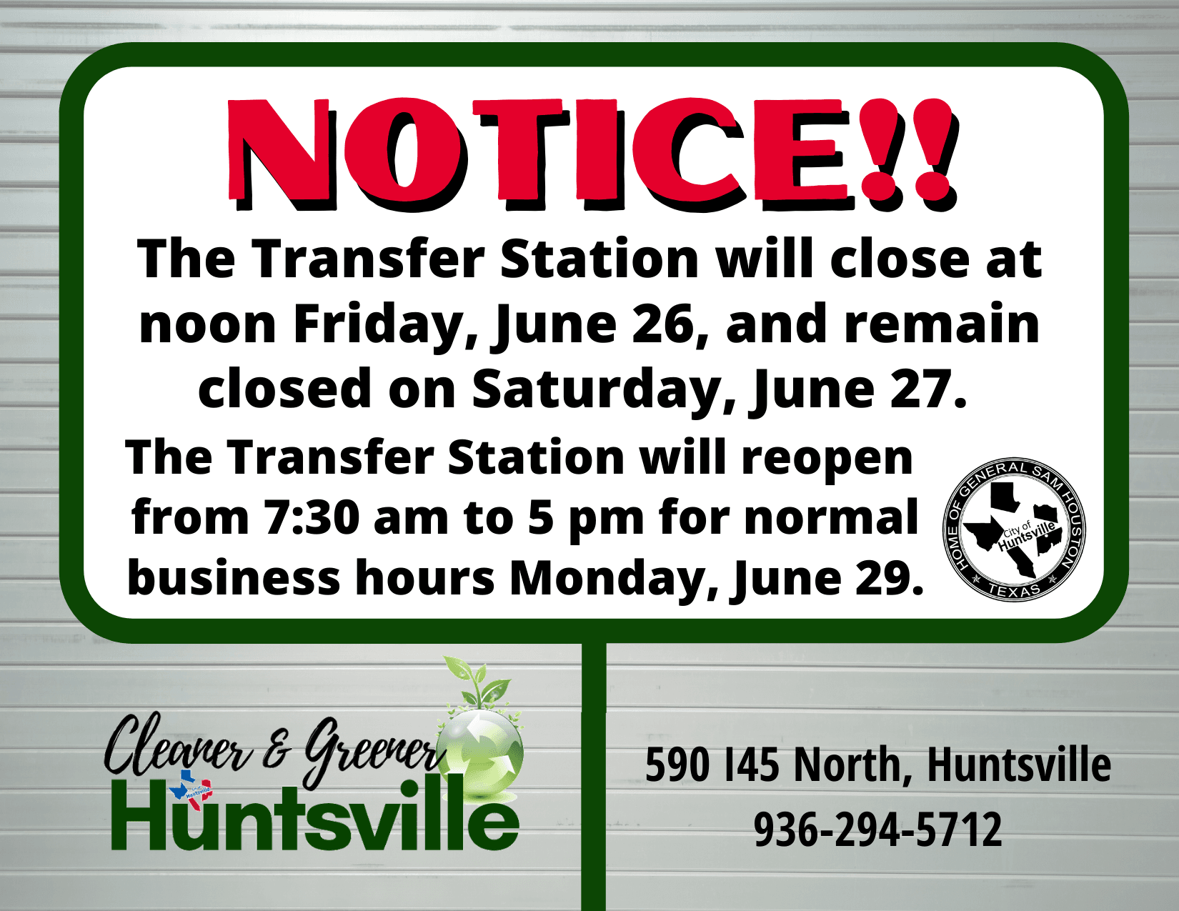 Tranfer Station Closure