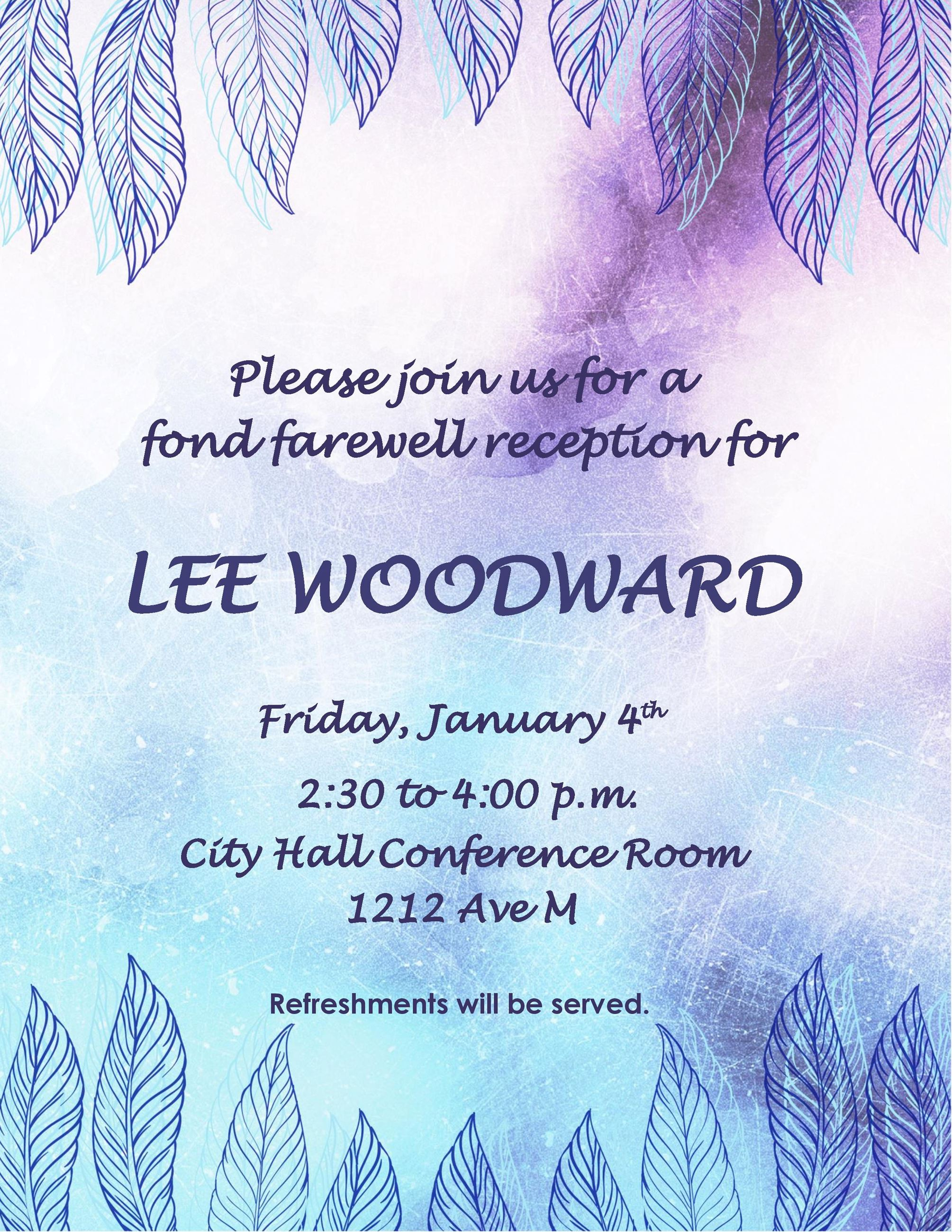 Woodward party invitation